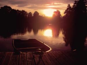 boat on still lake