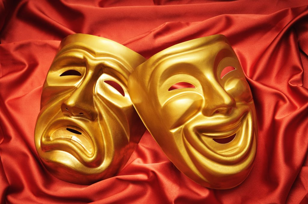 theater masks gold