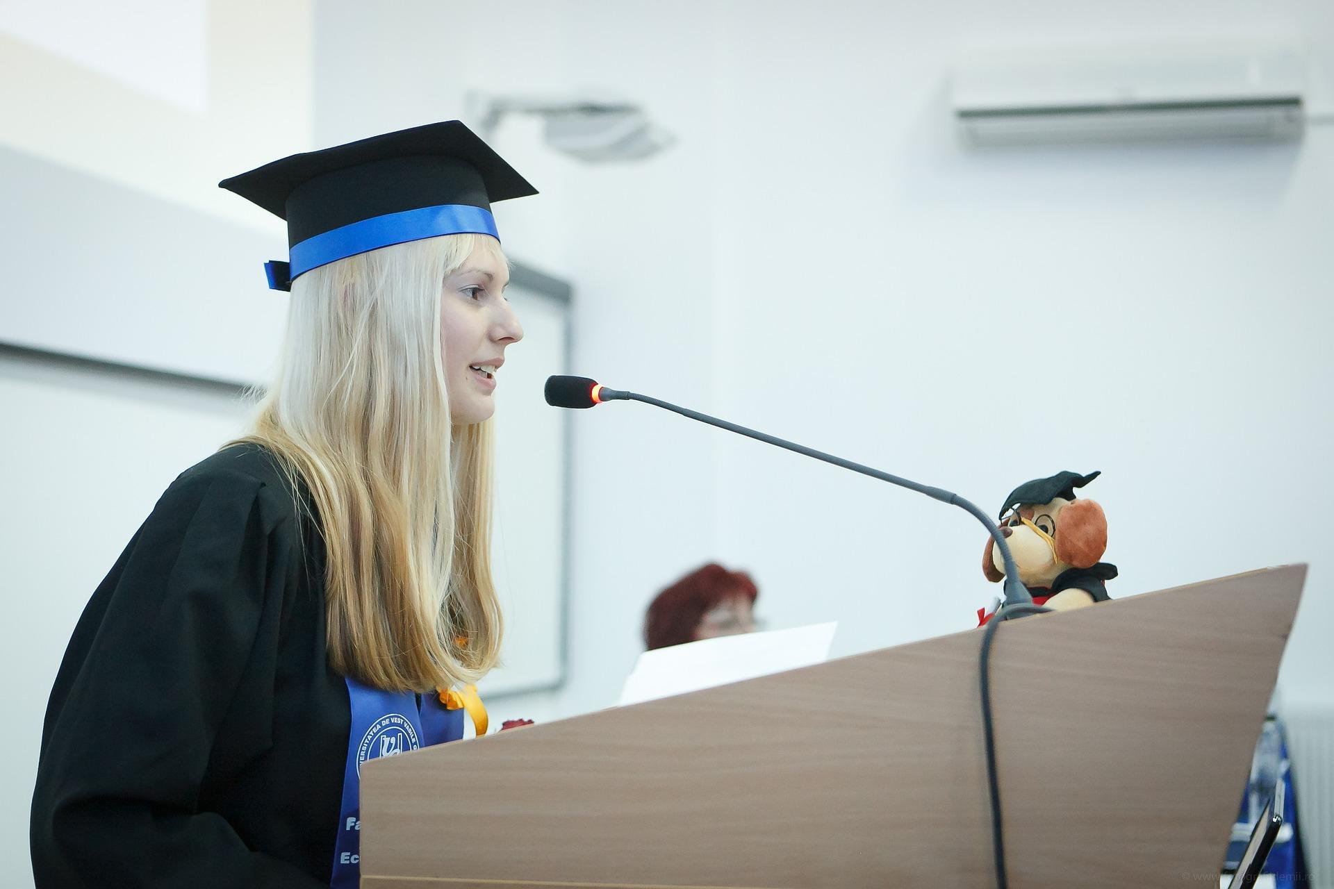 young woman graduation speech