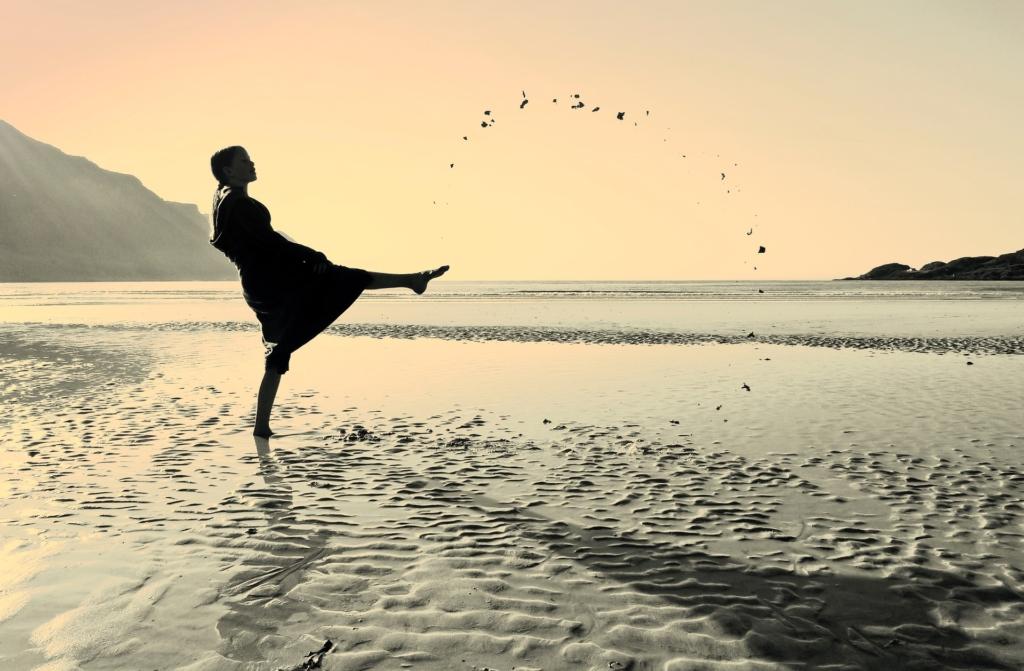 introvert woman alone on beach
